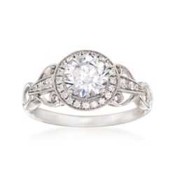 Simon G. .17 ct. t.w. Diamond Halo Engagement Ring Setting in 18kt White Gold, , default