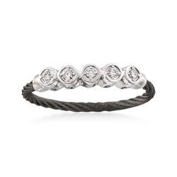 "ALOR ""Noir"" .11 ct. t.w. Diamond Black Cable Ring With 18kt White Gold, , default"