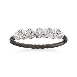 "ALOR ""Noir"" .11 ct. t.w. Diamond Black Cable Ring With 18kt White Gold, , default"
