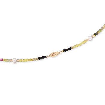 5.5-6.5mm Cultured Pearl and 29.00 ct. t.w. Multicolored Tourmaline Bead Necklace with 14kt Gold