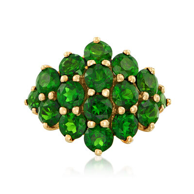 C. 1990 Vintage 4.00 ct. t.w. Green Chrome Diopside Cluster Ring in 14kt Yellow Gold, , default