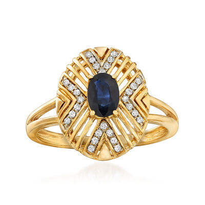 .50 Carat Sapphire and .10 ct. t.w. Diamond Geometric Ring in 14kt Yellow Gold, , default