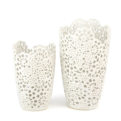 Set of Two White Porcelain Openwork Lace Vases, , default