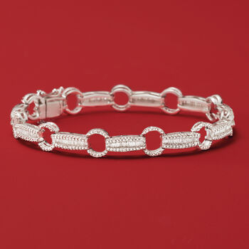 "1.50 ct. t.w. Baguette and Round Diamond Link Bracelet in Sterling Silver. 7"", , default"