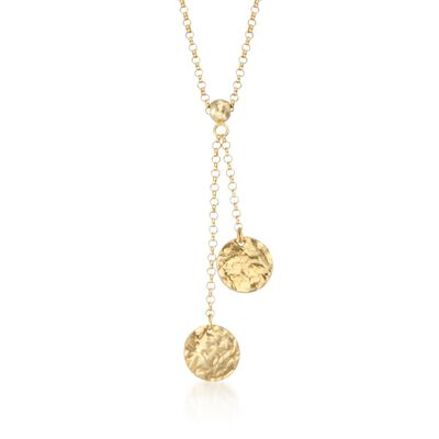 14kt Yellow Gold Hammered Disc Lariat Necklace, , default