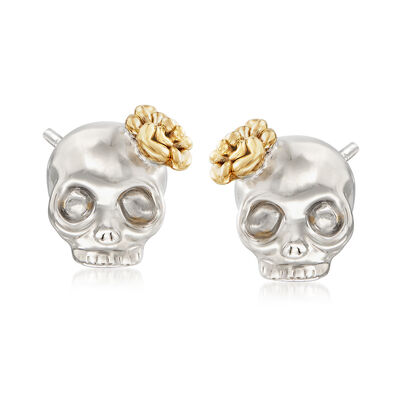 Skull Earrings in 14kt Yellow Gold With White Rhodium, , default