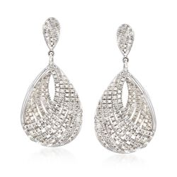1.00 ct. t.w. Diamond Teardrop Earrings in Sterling Silver, , default