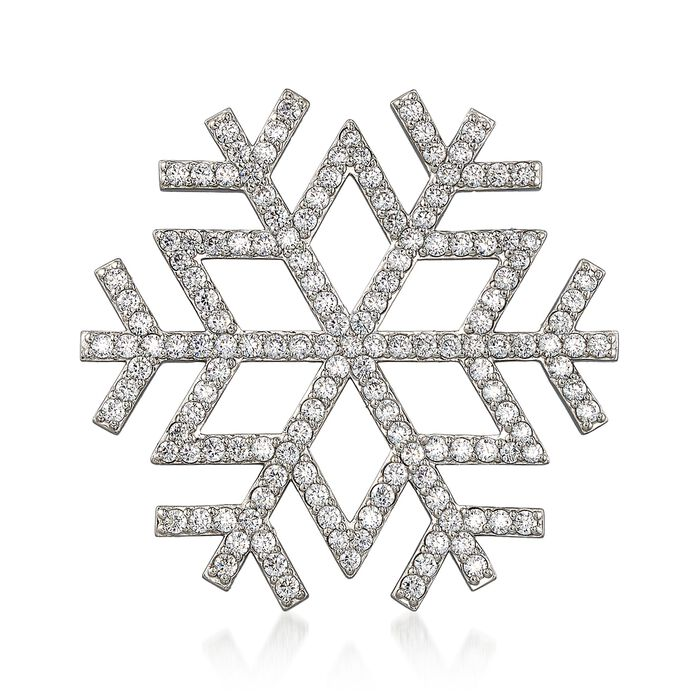 CZ-Accented Snowflake Pin in Sterling Silver, , default
