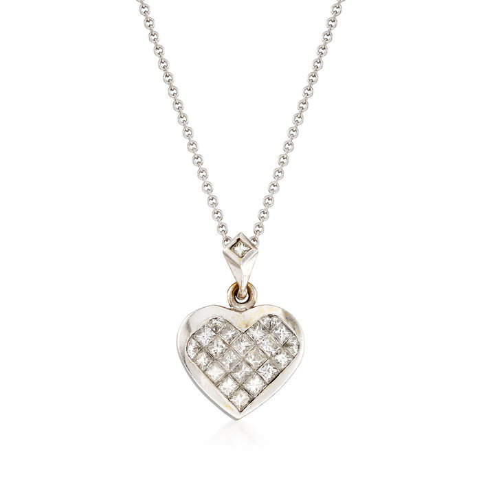 C. 1990 Vintage 1.15 ct. t.w. Diamond Heart Pendant Necklace in 18kt White Gold. 16""