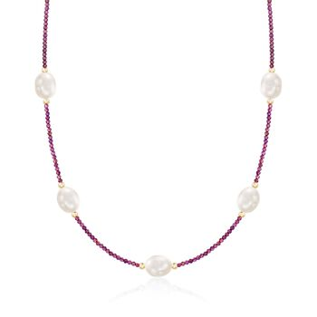 """10-10.5mm Cultured Pearl and 15.00 ct. t.w. Garnet Bead Station Necklace With 14kt Gold. 18"""", , default"""