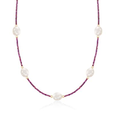 10-10.5mm Cultured Pearl and 15.00 ct. t.w. Garnet Bead Station Necklace With 14kt Gold, , default