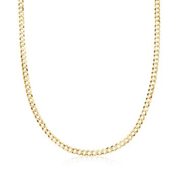 "Men's 4.7mm 14kt Yellow Gold Faceted Curb-Link Chain Necklace. 20"", , default"