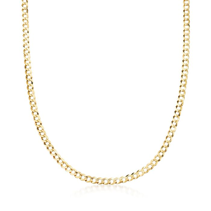"""Men's 4.7mm 14kt Yellow Gold Faceted Curb-Link Chain Necklace. 20"""", , default"""