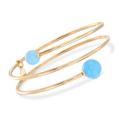 Italian 18kt Gold Over Sterling Coil Wrap Bangle Bracelet With Light Blue Chalcedony Beads, , default