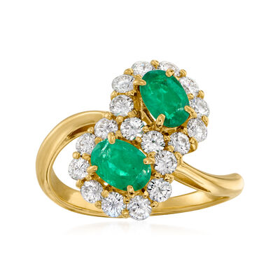 C. 1990 Vintage 1.10 ct. t.w. Diamond and 1.00 ct. t.w. Emerald Bypass Ring in 18kt Yellow Gold