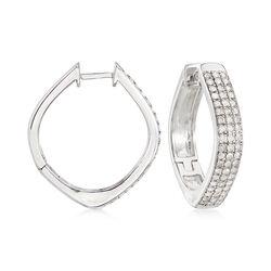 1.00 ct. t.w. Pave Diamond Triple-Row Hoop Earrings in Sterling Silver, , default