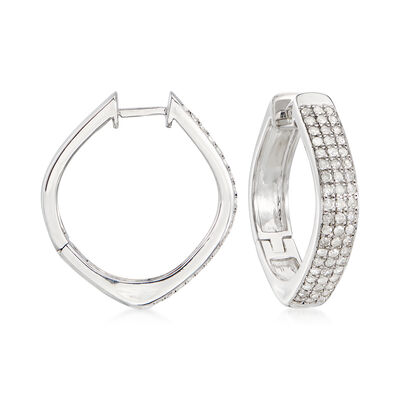 1.00 ct. t.w. Pave Diamond Triple-Row Hoop Earrings in Sterling Silver, , default