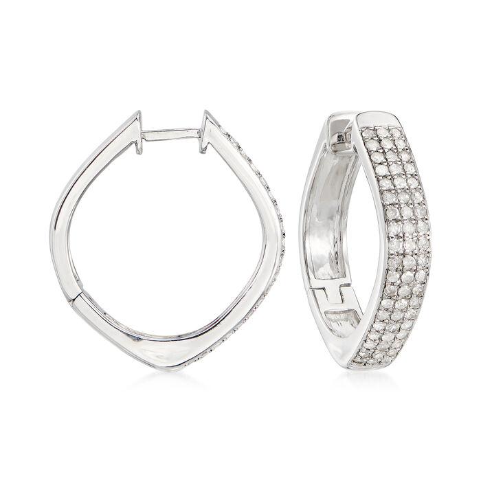 "1.00 ct. t.w. Pave Diamond Triple-Row Hoop Earrings in Sterling Silver. 1"", , default"