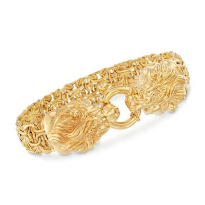 Italian 14kt Yellow Gold Double Lion Head Byzantine Bracelet, , default