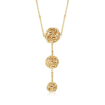 Italian 14kt Yellow Gold Textured Triple Rosetta Drop Necklace, , default