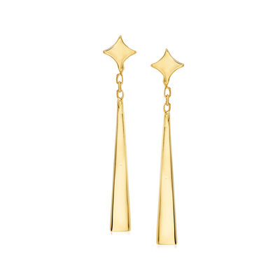 Italian 14kt Yellow Gold Star and Triangle Drop Earrings, , default