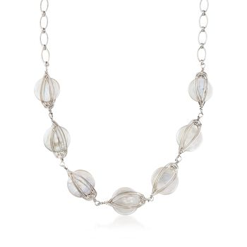 """17.5-18.5mm Cultured Pearl Caged Necklace in Sterling Silver. 18"""", , default"""