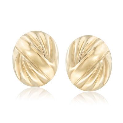 Italian 14kt Yellow Gold Oval Striped Earrings, , default