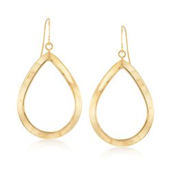 Italian 14kt Yellow Gold Open Teardrop Earrings, , default