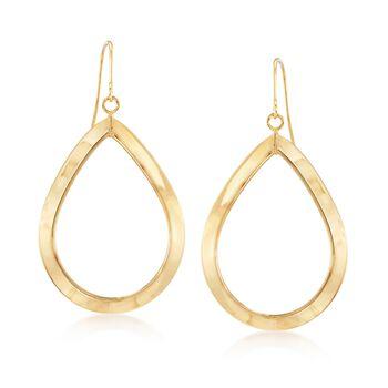 Italian 14kt Yellow Gold Open Teardrop Earrings, , default
