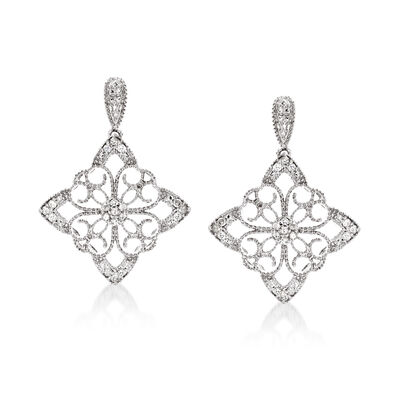 .25 ct. t.w. Diamond Floral Filigree Drop Earrings in Sterling Silver, , default