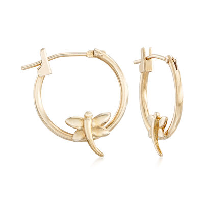 14kt Yellow Gold Dragonfly Hoop Earrings, , default