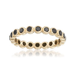 1.00 ct. t.w. Bezel-Set Black Diamond Eternity Band in 14kt Yellow Gold, , default