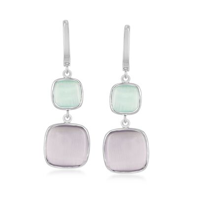 Purple and Green Glass Drop Earrings in Sterling Silver, , default
