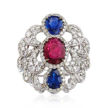1.20 Carat Ruby and 1.10 ct. t.w. Sapphire Scalloped Ring With Diamonds in 18kt White Gold, , default