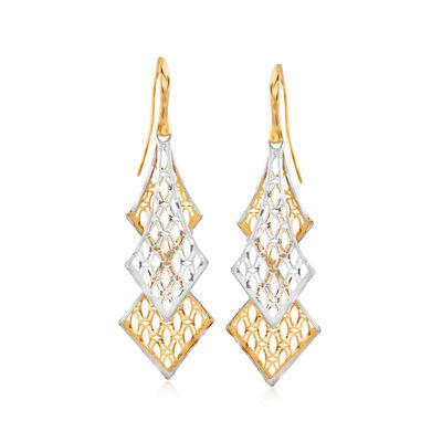 Italian 18kt Two-Tone Gold Openwork Drop Earrings, , default