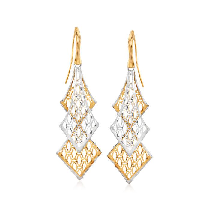 Italian 18kt Two-Tone Gold Openwork Drop Earrings