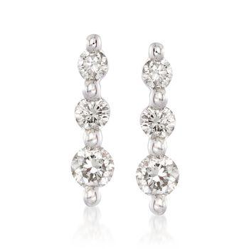 .25 ct. t.w. Graduated Diamond Drop Earrings in 14kt White Gold , , default