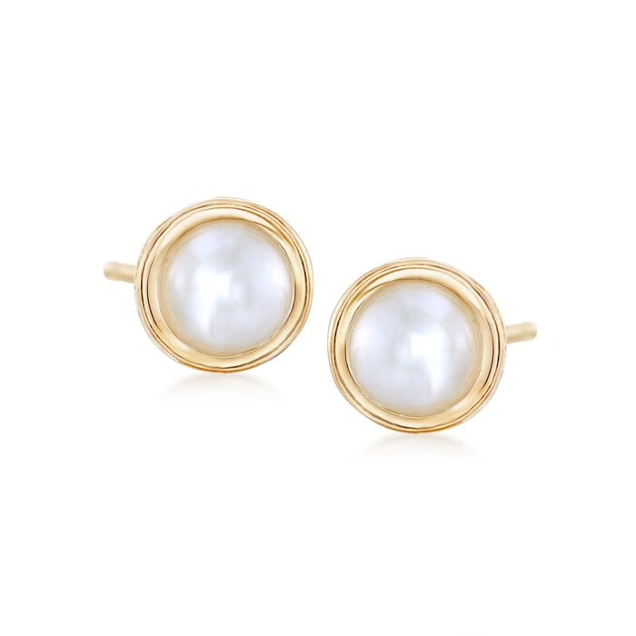 4.5mm Bezel-Set Cultured Button Pearl Stud Earrings in 14kt Yellow Gold, , default