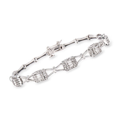 C. 1990 Vintage 1.75 ct. t.w. Round and Baguette Diamond Bracelet in 14kt White Gold, , default