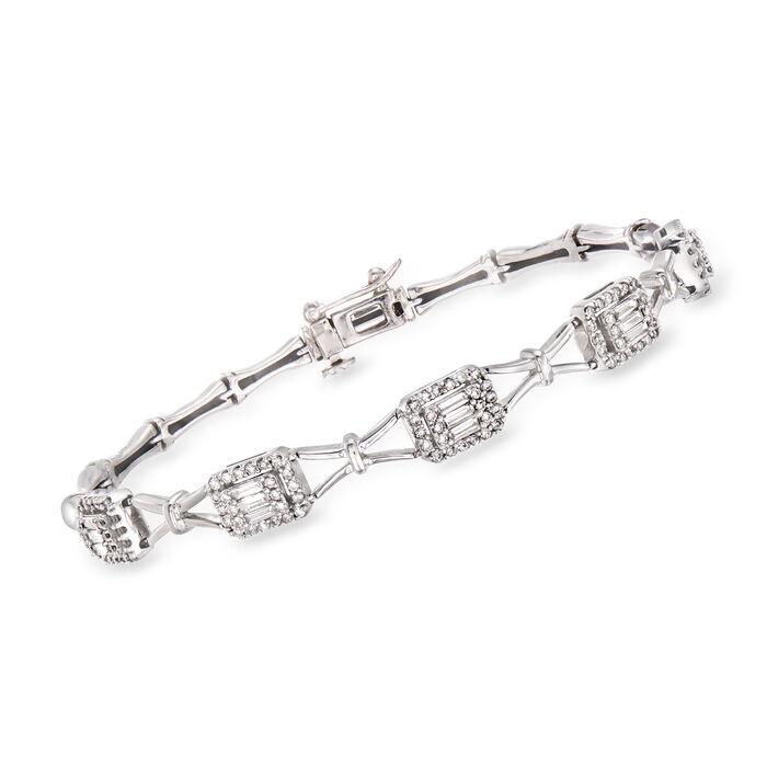 "C. 1990 Vintage 1.75 ct. t.w. Round and Baguette Diamond Bracelet in 14kt White Gold. 7"", , default"