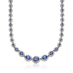 "C. 1990 Vintage 21.50 ct. t.w. Sapphire and 9.50 ct. t.w. Diamond Necklace in 14kt White Gold. 16"", , default"