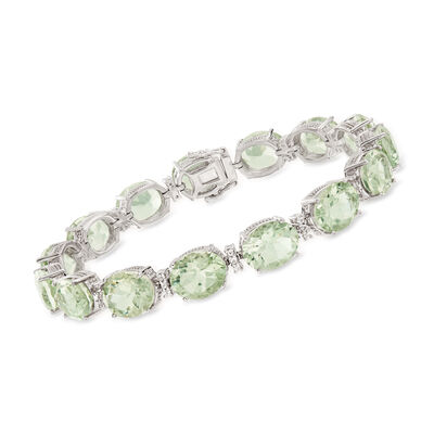 35.00 ct. t.w. Prasiolite and .40 ct. t.w. White Topaz Bracelet in Sterling Silver