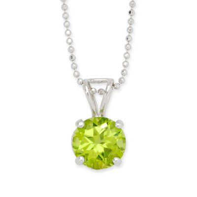 2.00 Carat Peridot Solitaire Necklace in 14kt White Gold , , default