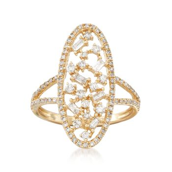 .69 ct. t.w. Diamond Open Oval Ring in 14kt Yellow Gold, , default