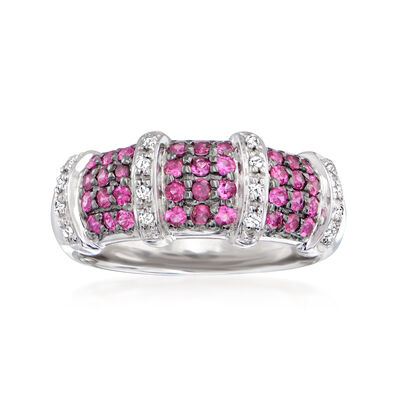 .60 ct. t.w. Pink Sapphire and .10 ct. t.w. Diamond Dome Ring in 14kt White Gold