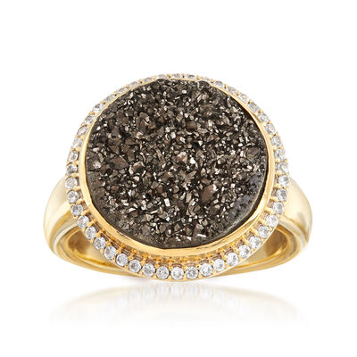 Gray Drusy and .30 ct. t.w. White Zircon Ring in 18kt Yellow Gold Over Sterling, , default