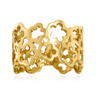 14kt Yellow Gold Openwork Flower Ring