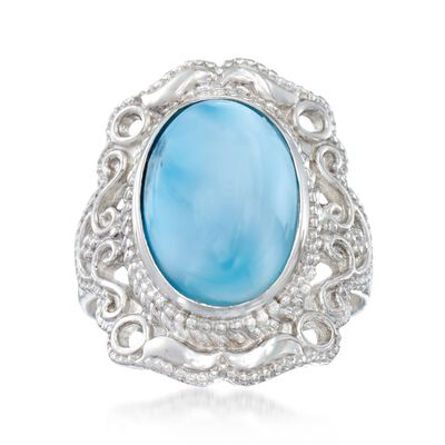 Larimar Scrollwork Ring in Sterling Silver, , default