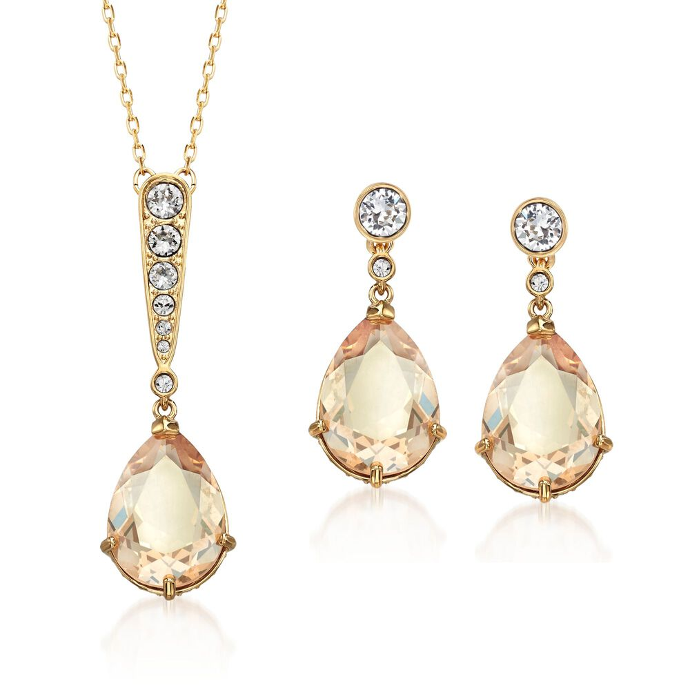 "5a6c74776 Swarovski Crystal ""Vintage"" Golden and Clear Crystal Jewelry Set:  Earrings and Necklace"
