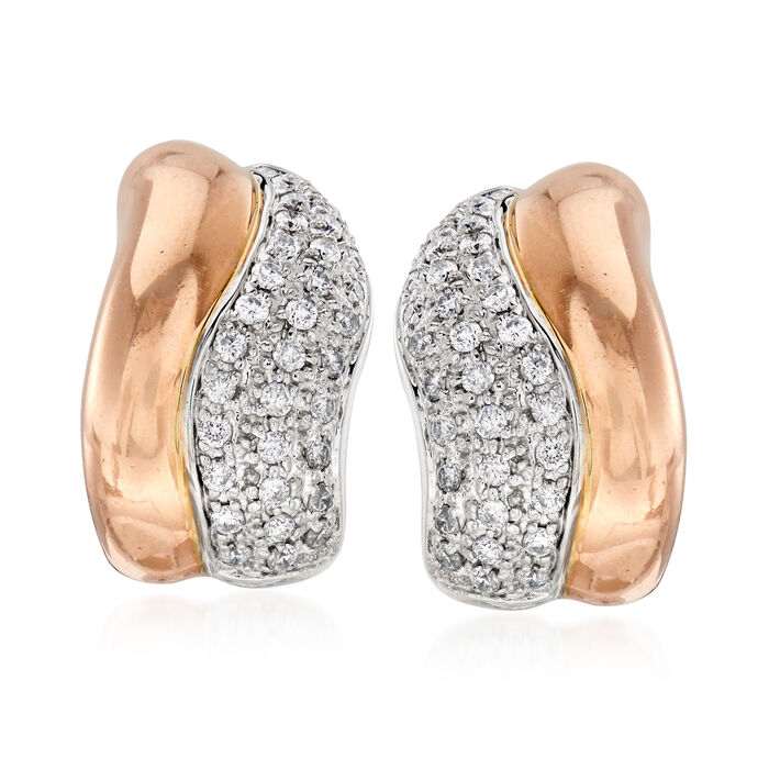C. 2000 Vintage Sonia B 1.40 ct. t.w. Diamond Wave Earrings in 14kt Two-Tone Gold